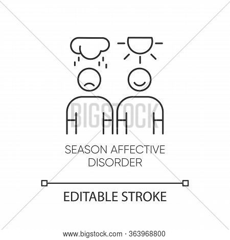 Seasonal Affective Disorder Linear Icon. Emotional Change. Manic, Depressive Episodes. Anxiety. Ment