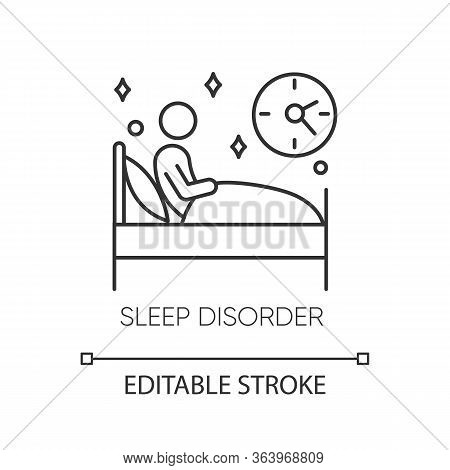 Sleep Deprivation Linear Icon. Insomnia. Nightmare And Night Terror. Dyssomnia. Mental Disorder. Thi