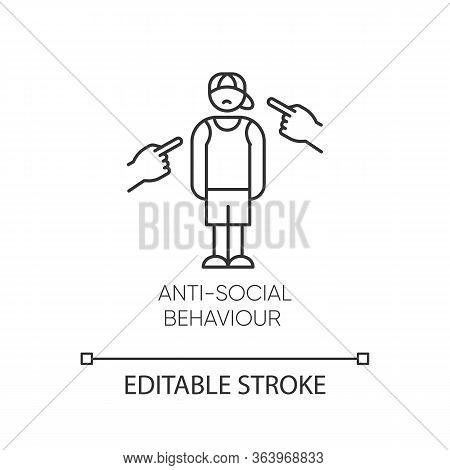 Anti-social Behaviour Linear Icon. Harassment, Bully. Teenager Depression. Agressive Public. Mental