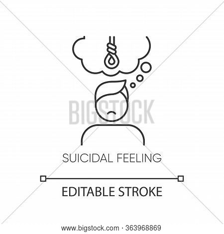 Suicidal Feeling Linear Icon. Depressive Thoughts. Hang Attempt. Death Attempt Prevention. Mental He