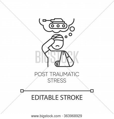 Post-traumatic Stress Linear Icon. Veteran With Anxiety. Depressed Soldier. Ptsd Therapy. Mental Dis