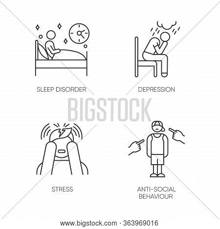 Mental Disorder Linear Icons Set. Sleep Deprivation. Depression And Anxiety. Stress. Anti-social Beh