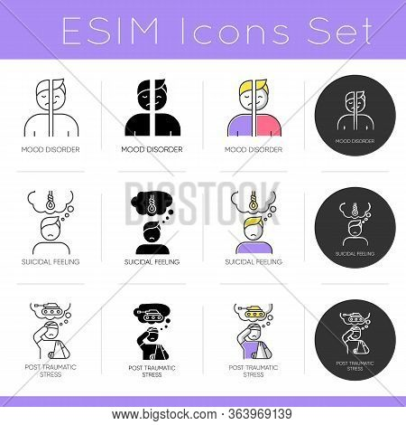 Mental Disorder Icons Set. Suicidal Feeling. Post-traumatic Syndrom. Mood Affective Disorder. Stress