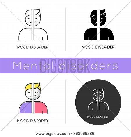 Mood Disorder Icon. Manic And Depressive Episodes. Dysthymia, Cyclothymia. Emotional Swing. Psychiat