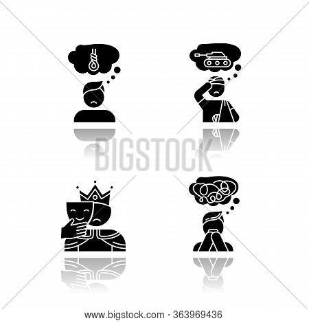 Mental Disorder Drop Shadow Black Glyph Icons Set. Suicidal Feeling. Post Traumatic Stress. Impostor