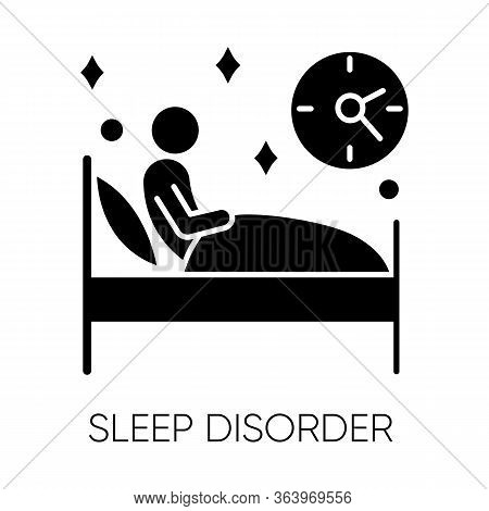 Sleep Deprivation Glyph Icon. Insomnia. Awake At Night. Sleeplessness. Nightmare And Night Terror. D