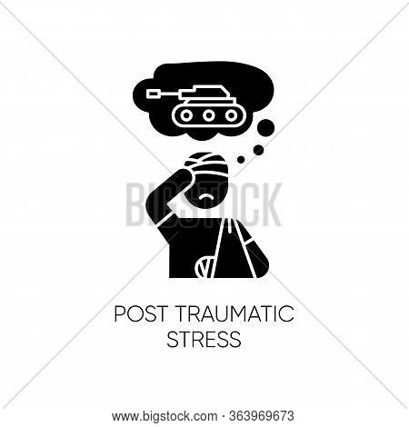 Post-traumatic Stress Glyph Icon. Veteran With Anxiety. Depressed Soldier. Distress Thoughts. Ptsd P