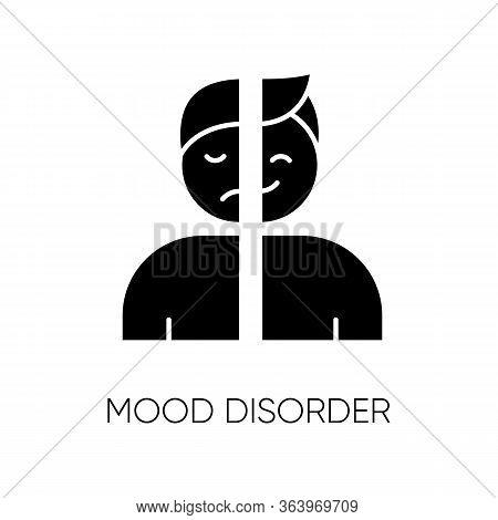Mood Disorder Glyph Icon. Manic And Depressive Episodes. Dysthymia, Cyclothymia. Emotional Swing. Ha