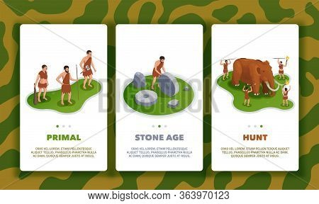 Caveman Prehistoric Primitive People Set Of Three Vertical Banners With Text Page Switches And Life