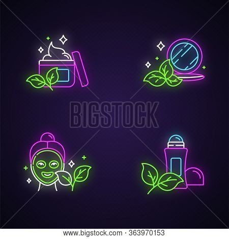 Organic Cosmetics Neon Light Icons Set. Face Cream. Pressed Makeup Powder. Face Mask. Deodorant, Ant