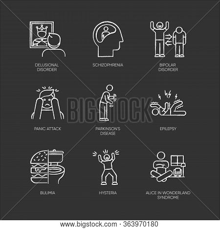 Mental Disorder Chalk Icons Set. Delusion, Schizophrenia. Bipolar Disorder. Panic Attack. Parkinson