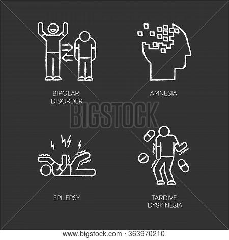 Mental Disorder Chalk Icons Set. Manic And Depressive Episodes. Bipolar Personality Disorder. Amnesi