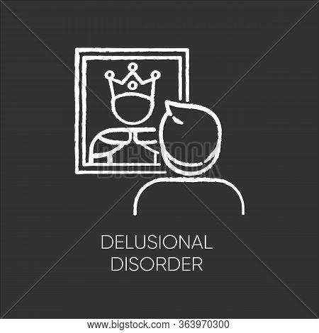 Delusional Disorder Chalk Icon. Man In Mirror Reflection. Bizzare And False Beliefs. Optical Delusio