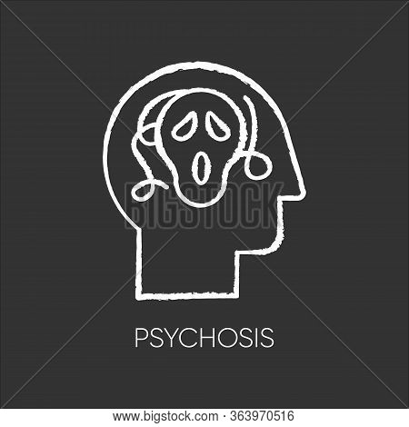 Psychosis Chalk Icon. Paranoid And Scared Person. Confused Mind. Fear. Phobia And Anxiety. Schizophr