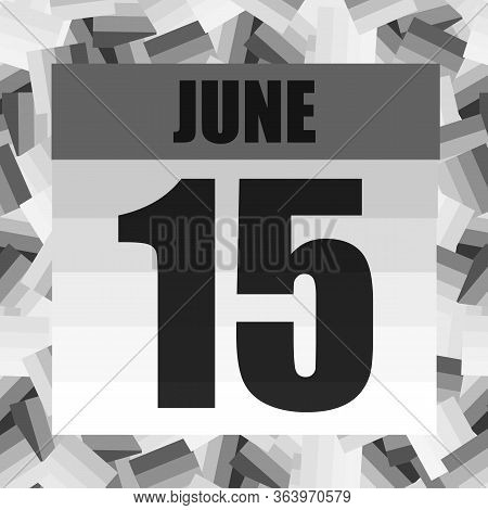 June 15 Icon. For Planning Important Day. Banner For Holidays And Special Days. Fifteenth Of June. I