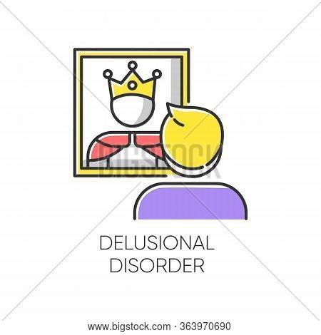 Delusional Disorder Color Icon. Man In Mirror Reflection. Bizzare And False Beliefs. Optical Delusio
