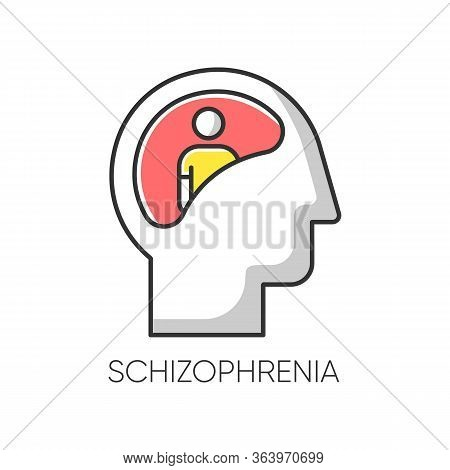 Schizophrenia Color Icon. Unclear Thinking. Confused Mind. Mental Disorder. Paranoia And Anxiety. Ab
