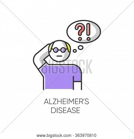 Alzheimers Disease Color Icon. Dementia. Memory Loss. Trouble With Thinking. Illness From Old Age. E