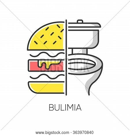 Bulimia Color Icon. Eating Disorder. Depression And Anxiety. Vomiting Food In Bathroom. Unhealthy Hu