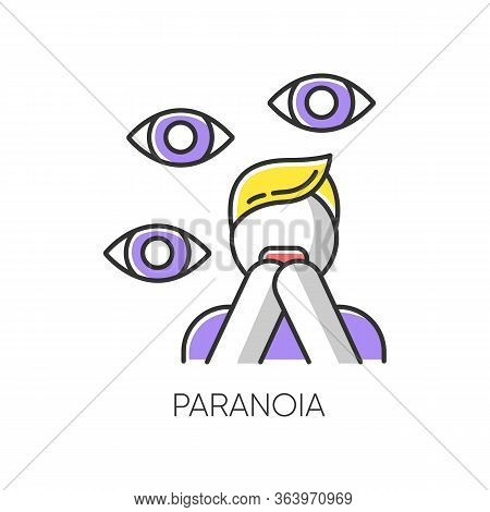 Paranoia Color Icon. Panic Attack. Scared Person. Fear And Phobia. Terrified Man. Conspiracy And Dis