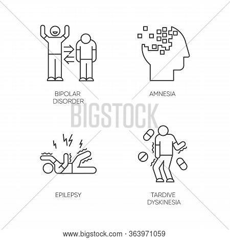 Mental Disorder Linear Icons Set. Bipolar Disorder. Amnesia. Memory Loss. Epileptic Seizure. Tardive