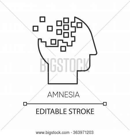 Amnesia Linear Icon. Memory Loss. Brain Injury. Trouble With Remembering. Korsakoff Syndrome. Mental