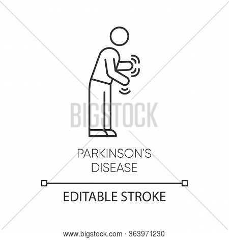 Parkinsons Disease Linear Icon. Shaking, Rigidity. Parkinsonism. Parkinsonian Syndrome. Mental Healt