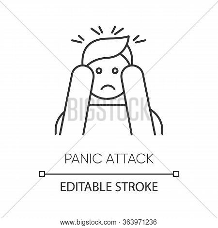 Panic Attack Linear Icon. Anxiety And Depression. Paranoia. Person Afraid And Nervous. Mental Disord