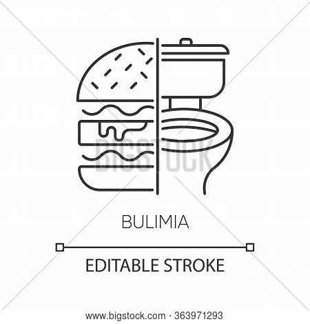 Bulimia Linear Icon. Eating Disorder. Unhealthy Hunger. Binge Eating From Stress. Mental Disorder. T