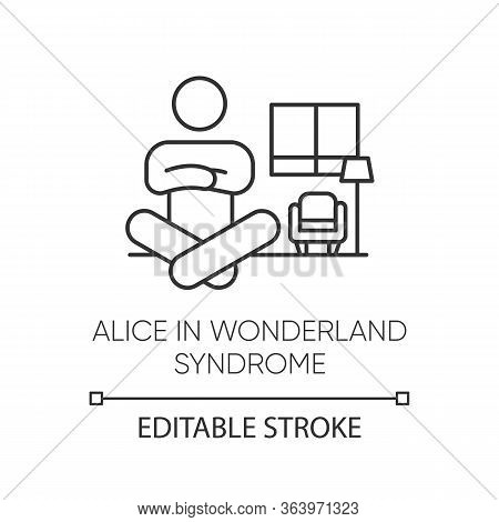 Alice In Wonderland Syndrome Linear Icon. Visual Perception. Size Distortion. Dysmetropsia. Mental D