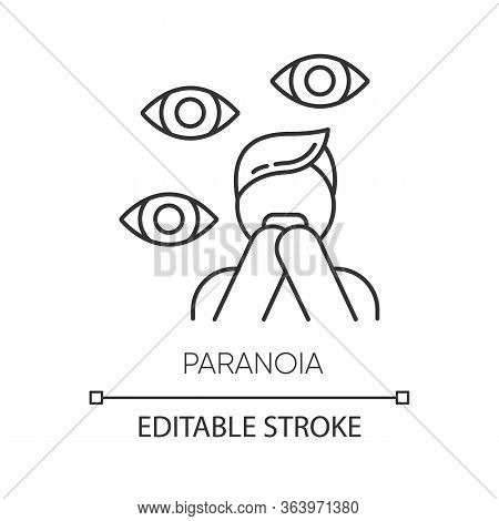 Paranoia Linear Icon. Panic Attack. Scared Person. Fear And Phobia. Stress And Anxiety. Mental Disor