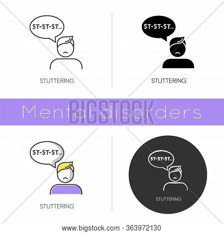 Stuttering Icon. Speech Problem. Repetition In Talking. Sound And Syllable Prolongation. Oral Commun
