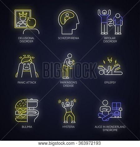Mental Disorder Neon Light Icons Set. Schizophrenia. Bipolar Disorder. Panic Attack. Parkinson Disea
