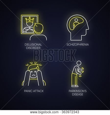 Mental Disorder Neon Light Icons Set. Delusional Person. Schizophrenia. Panic Attack. Parkinson Dise