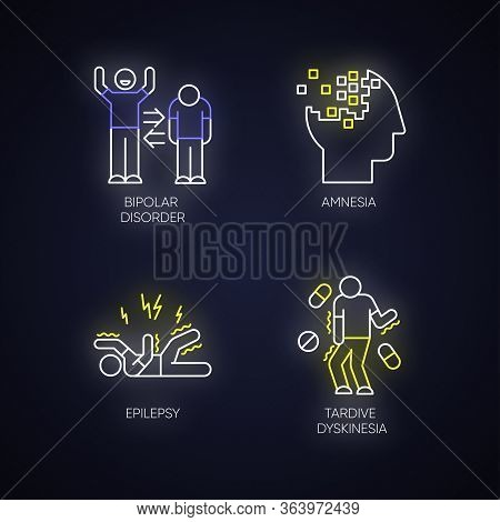 Mental Disorder Neon Light Icons Set. Manic And Depressive Episodes. Bipolar Disorder. Amnesia. Memo