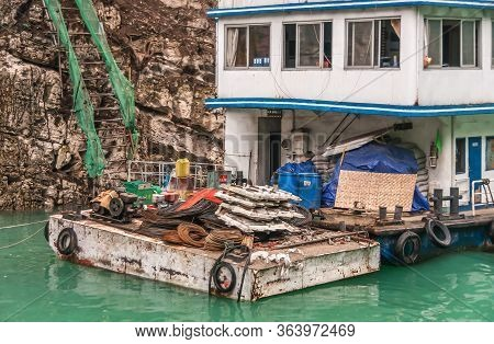 Wuchan, China - May 7, 2010: Dicui Or Emerald Gorge On Daning River. Closeup Of Workers Hostel Boat