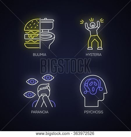 Mental Disorder Neon Light Icons Set. Bulimia. Eating Disorder. Hysteria. Panic Attack. Anxiety, Dep