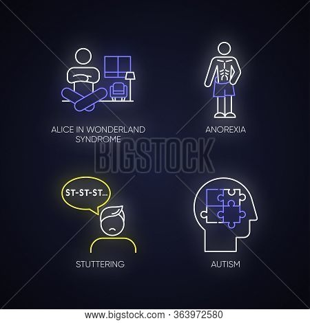 Mental Disorder Neon Light Icons Set. Alice In Wonderland Syndrome. Anorexia. Eating Disorder. Under