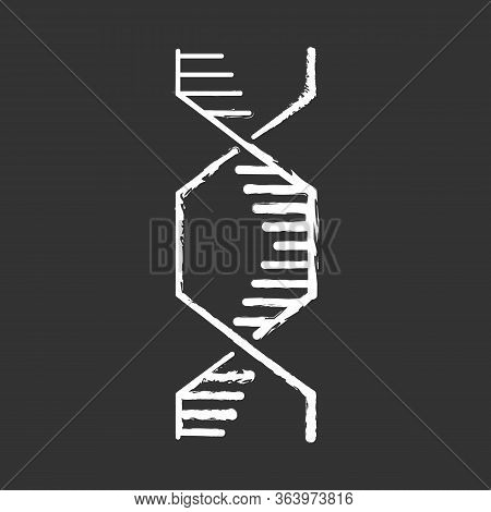 Hexagonal Dna Helix Chalk Icon. Deoxyribonucleic, Nucleic Acid Structure. Spiraling Strands. Chromos