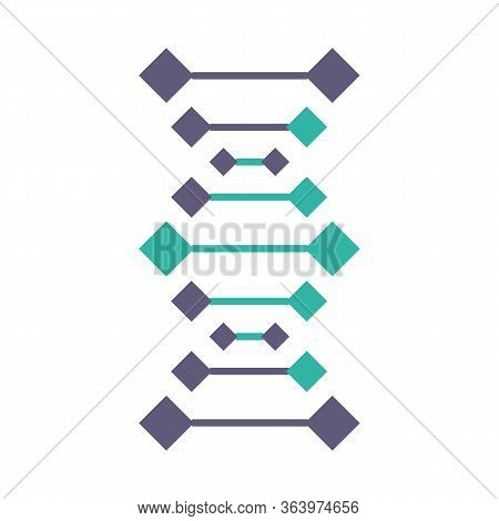 Dna Chains Violet And Turquoise Color Icon. Deoxyribonucleic, Nucleic Acid Helix. Spiraling Strands.