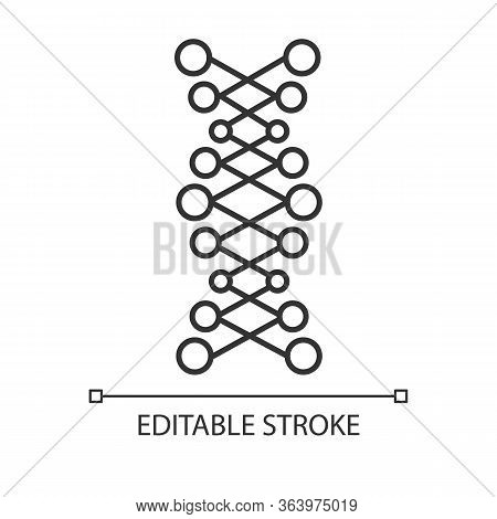 Dna Double Helix Linear Icon. Connected Dots, Lines. Deoxyribonucleic, Nucleic Acid. Genetic Code. G
