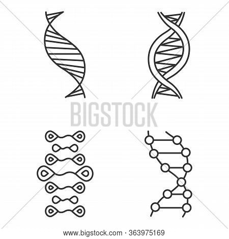 Dna Strands Linear Icons Set. Deoxyribonucleic, Nucleic Acid Helix. Molecular Biology. Genetic Code.