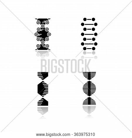 Dna Spiral Chains Drop Shadow Black Glyph Icons Set. Deoxyribonucleic, Nucleic Acid Helix. Spiraling