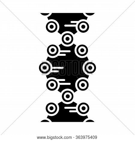 Dna Strands Glyph Icon. Connected Circles, Lines. Deoxyribonucleic, Nucleic Acid Helix. Chromosome.