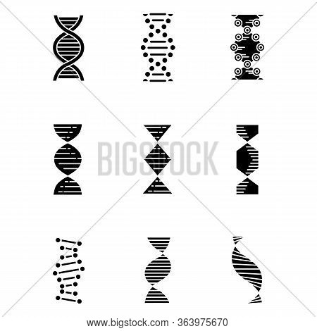 Dna Spirals Glyph Icons Set. Deoxyribonucleic, Nucleic Acid Helix. Chromosome. Spiraling Strands. Mo