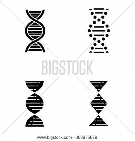 Dna Spiral Strands Glyph Icons Set. Deoxyribonucleic, Nucleic Acid Helix. Spiraling Strands. Chromos