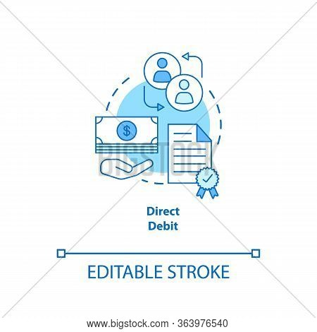 Direct Debit Turquoise Concept Icon. Financial Withdrawal Idea Thin Line Illustration. Bank Transact