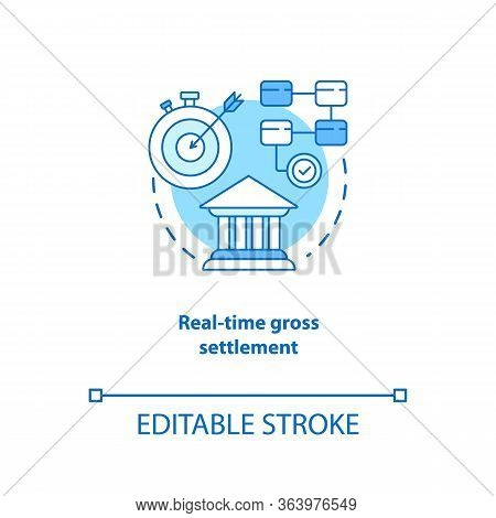 Real Time Gross Settlement Turquoise Concept Icon. Funds Transfer Procedure Idea Thin Line Illustrat