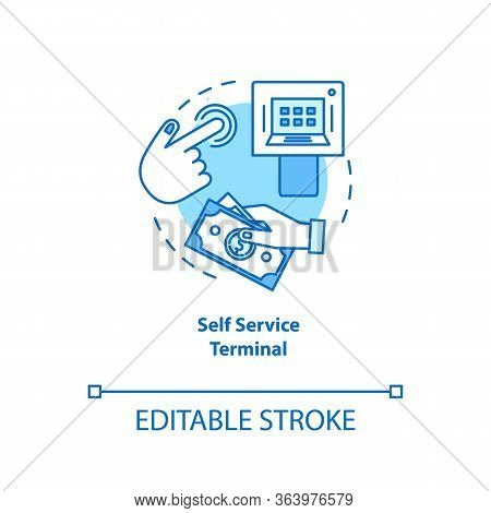 Self Service Terminal Turquoise Concept Icon. Customer-operated Checkout Idea Thin Line Illustration
