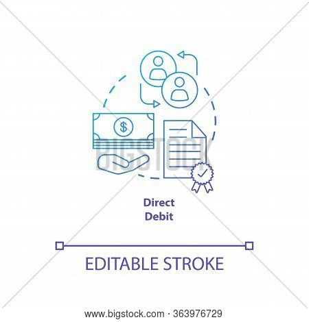 Direct Debit Blue Gradient Concept Icon. Financial Withdrawal Idea Thin Line Illustration. Bank Tran
